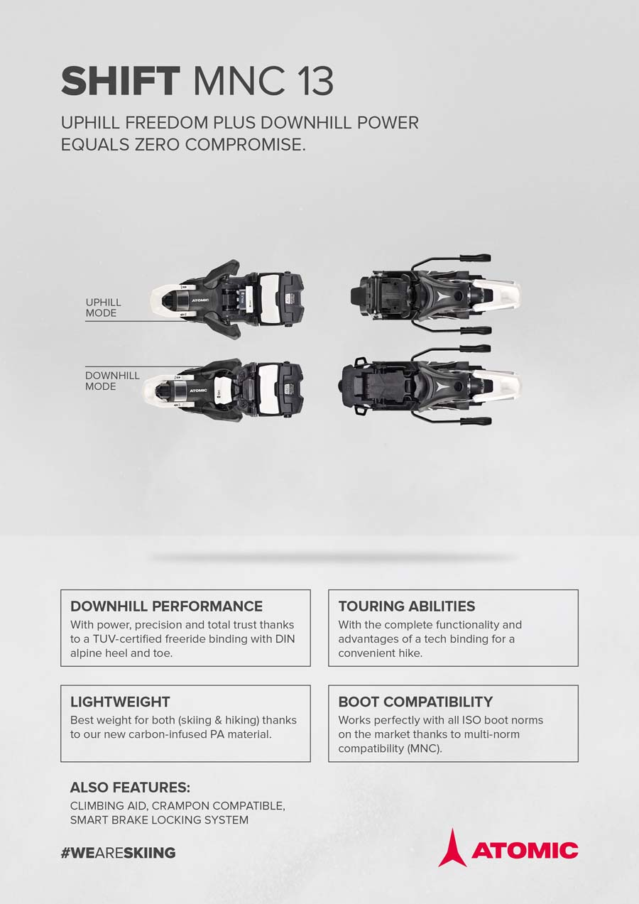 Atomic 2022 Shift MNC 13 (DIN 5-13) Bindings NEW !! Width: 100,120mm 1