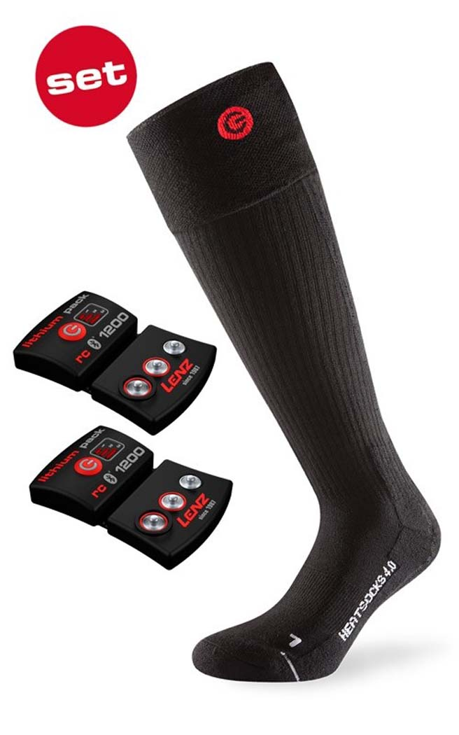 Lenz Heat 4.0 Socks + rcB 1200 Lithium Battery Packs NEW !! Size: S,L,XL