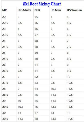 Mondo Size Conversion Chart: salomon junior ski boot size chart u2013 SIEMMArh:siemma.org,Chart