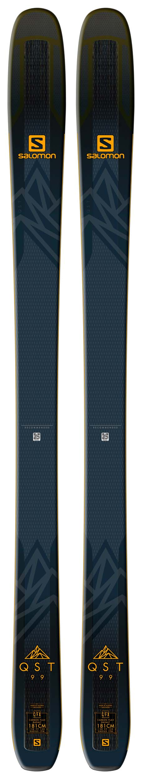Salomon 2019 QST 99 Skis (Without Bindings / Flat) NEW !! 181cm
